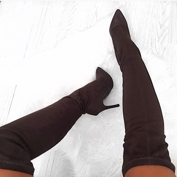 2017 Autumn Winter Popular Wine Red Army Green Stretchy Suede Long Boots Elastic Flock Over-the-knee Boots Women Sexy Thigh Boot