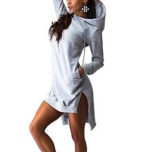 2017 New Spring Women long hooded sweatshirt Dress Casual Double Split Hoodie Pullover Pockets Dresses Vestidos Femininas