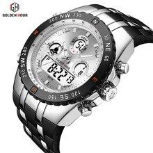 OULM Sport Dual Time Quartz Watch Men Big Case Military Analog Digital Mens Watches Top Brand Luxury Steel Strap Wristwatches