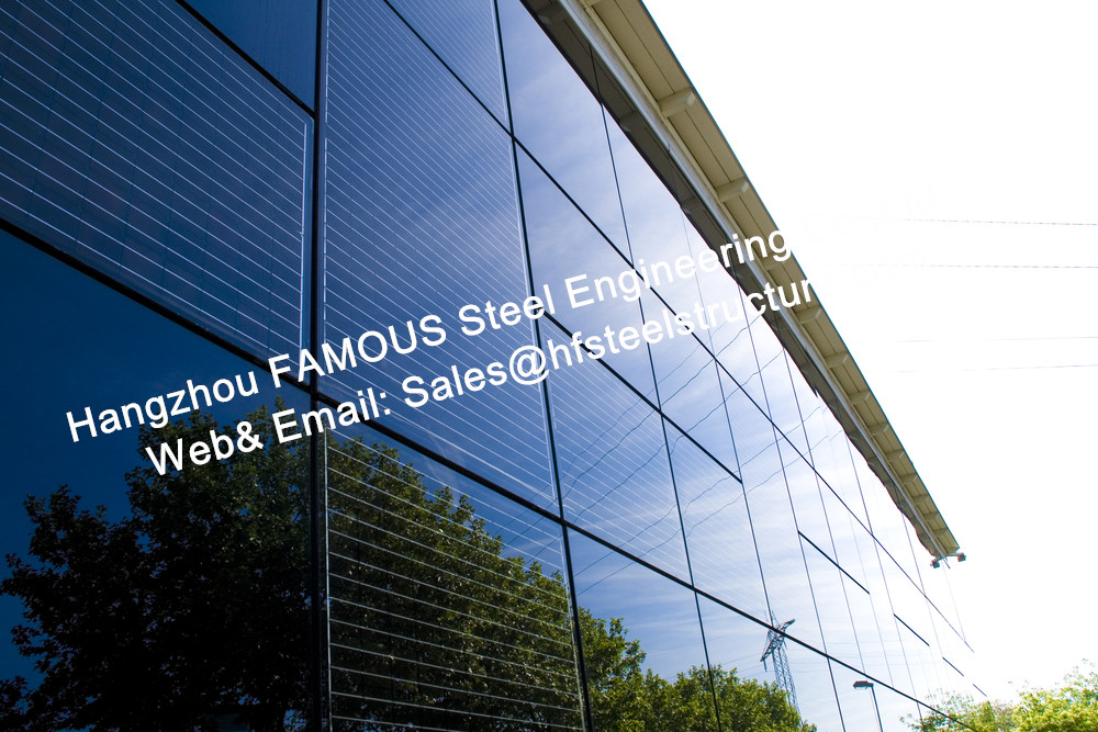 Steel Building-Integrated Photovoltaic Fatades Solar Modules Glass Curtain Wall With Single Crystal Component