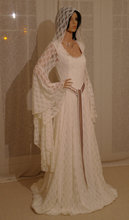Elven Ivory Lace Dress with Hood Comicon Renaissance Medieval Handfasting Theater Custom Made