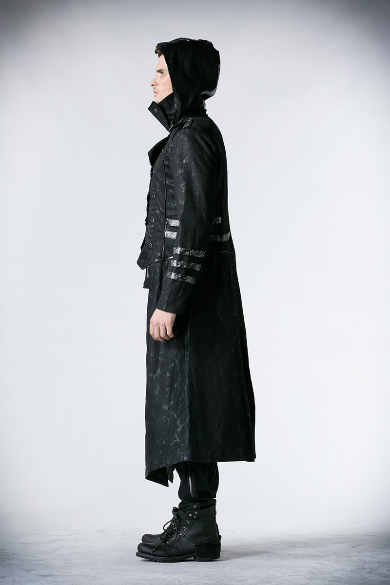 Мужские тренчи в стиле стимпанк черные Саржевые пальто с кожаным готическим капюшоном съемные длинные зимние пальто - 3