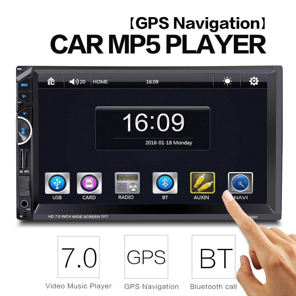 imágenes para 8001 2Din Pantalla Táctil de 7 pulgadas MP5 Coche Multimedia Reproductor de Vídeo Auto Audio Estéreo Radio con Gps FM Bluetooth cámara