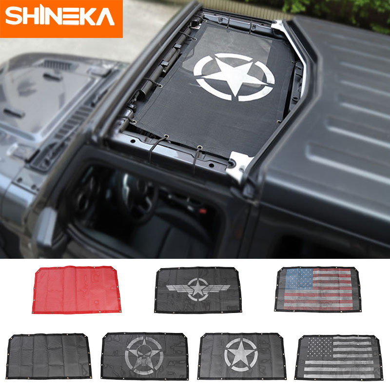 SHINEKA Car Cover for jeep wrangler jl 2018+ accessories Roof Anti UV Sun Protection Mesh Net for Jeep JL Wrangler Accessories