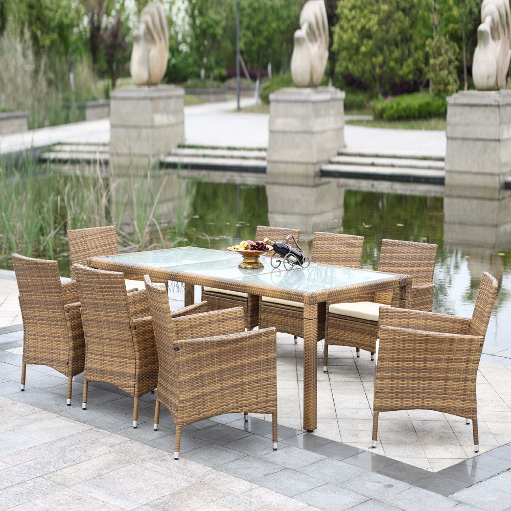 iKayaa 9PCS Rattan Outdoor Patio Dinning Table Set Cushioned Garden Patio Fur