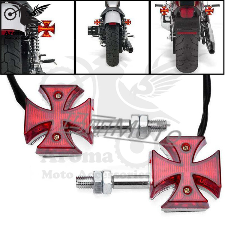 1 pair red lens prince cruise scooter for harley LED motorcycle turn signal light moto indicator motorbike flashers blinker