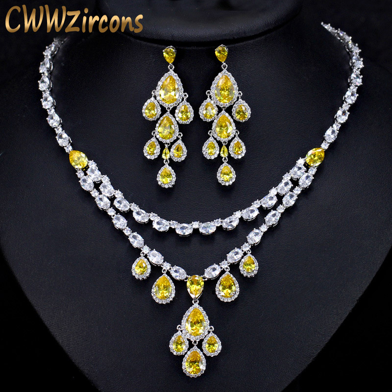 купить CWWZircons Designer Yellow Cubic Zirconia African Tassel Water Drop Earrings Necklace Luxury Bridal Wedding Jewelry Sets T233
