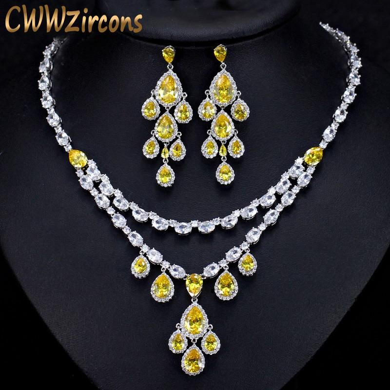 купить CWWZircons Designer Yellow Cubic Zirconia African Tassel Water Drop Earrings Necklace Luxury Bridal Wedding Jewelry Sets T233