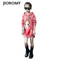 JIOROMY 2017 Large Girls Clothing T-shirts Autumn Printed Girl Hooded Long cotton Tops for Kids Children's Clothing