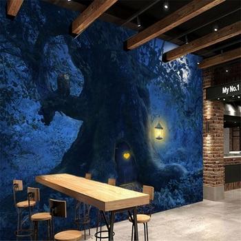 beibehang Custom wallpaper photos HD fantasy beautiful forest tree moon night scenery Halloween background wall painting