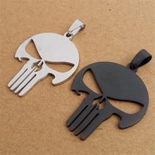 ER Punk Movie Punisher Dark Knight Necklace Black Titanium Superhero Skull Pendant for Men Cheap Marvel Jewelry PN014