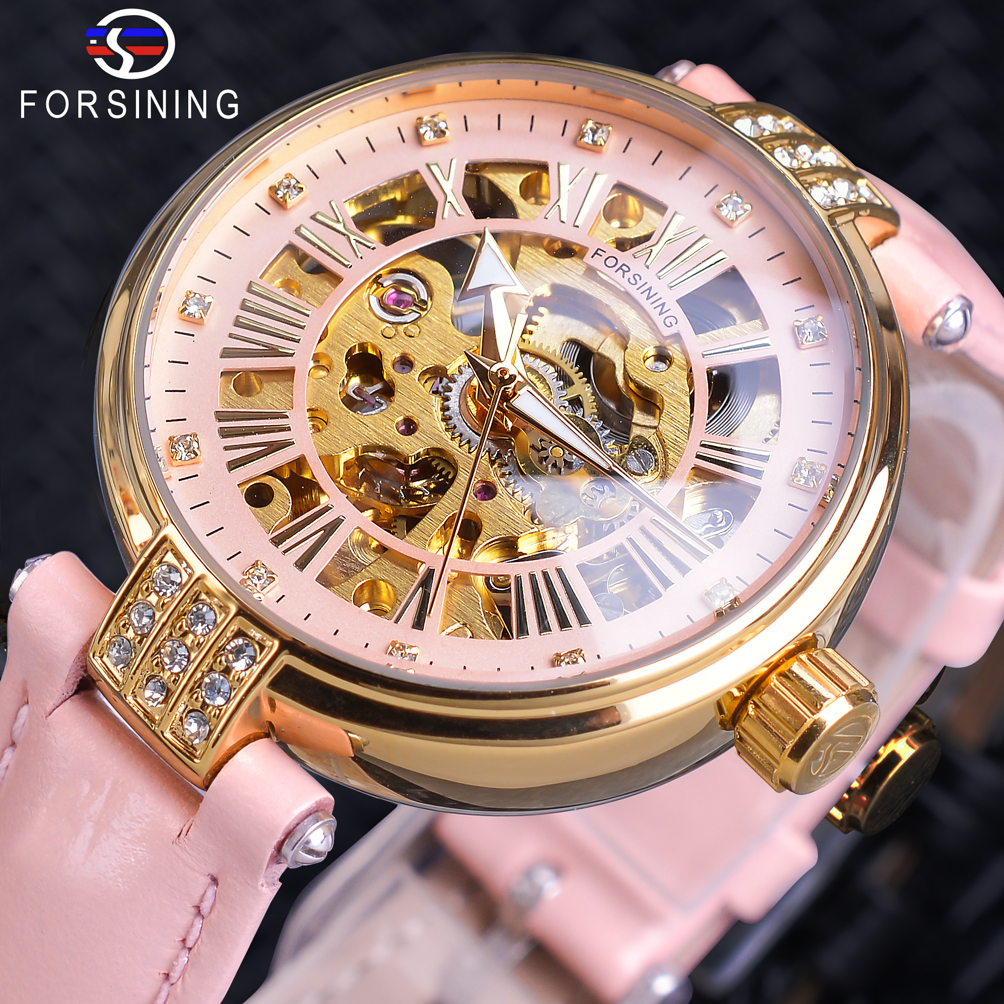 Forsining Pink Lady Diamond Automatic Watch Women Watches Top Montre Femme 2019 Gold Skeleton Relogio Feminino Brand Star Clock