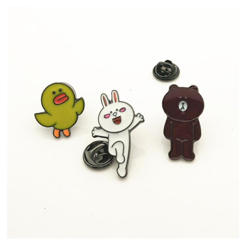 Cartoon Duck pattern picture Enamel student Collar Badges Lovely Brown bear grils alloy brooch Animal Jewelry Gift for Children