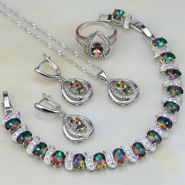 925 Silver Jewelry Rainbow Mystic Fire Stones White CZ Jewelry Set