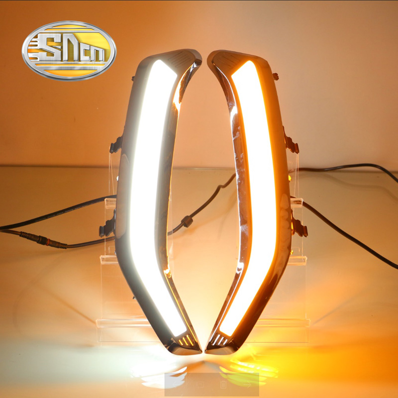 Для Субару Форестер 2016 2017 2018,желтый поворота реле Стиль Водонепроницаемый хромированный корпус DRL автомобиля СИД 12V дневного света SNCN