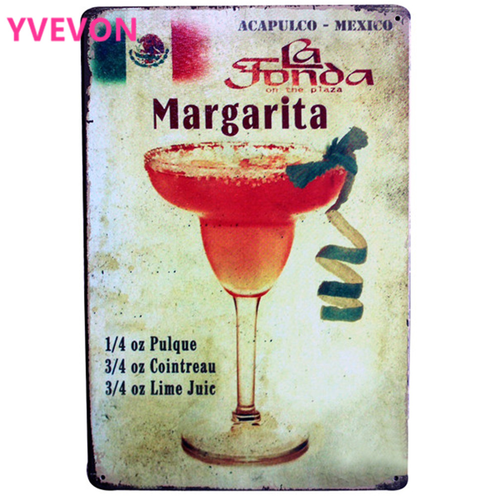 Margarita Cocktail Lounge Metal Tin Sign Vintage Bar Plaque Alcohol Wine Board for Music Pub Bar with PHOTO LJ3-3 20x30 cm B1