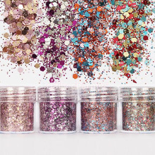 Nail 1 Jar of 10ml Purple Champagne Rose Mix Color Mixed Glitter Powder Sequins Powders For Gel  Dust Tips Decoration