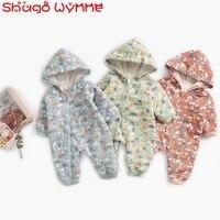 Winter Warm Newborn Baby Boys Cartoon Print Hooded Thick Fleece Warm Kids Rompers Infant Girls Casual Zipper Jumpsuits