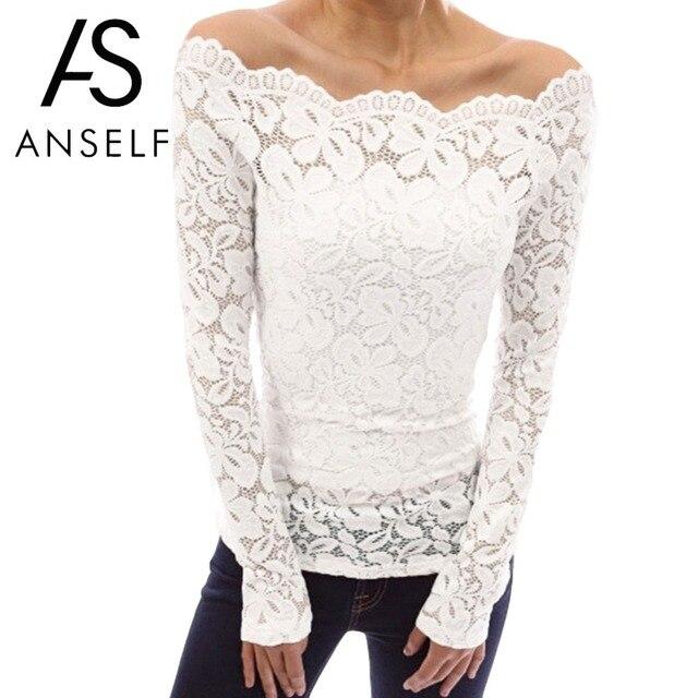 Anself סקסי בתוספת גודל תחרה למעלה נשים חלול החוצה כבוי כתף תחרה חולצה סלאש צוואר ארוך שרוולים אלגנטי גבירותיי 5XL חולצה חולצות