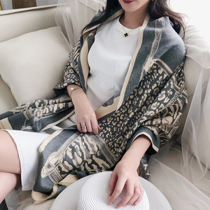 Image 3 - Leopard Print Winter Cashmere Scarf Women 2020 New Thick Warm Shawls and Wraps Summer Office Lady Air Conditioner Ppashmina