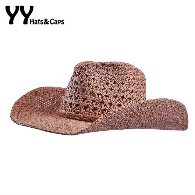 Feitas à mão Chapéus De Palha para Os Homens Verão Sunhats Cap Cowboy para  As Mulheres 9198fe5709e