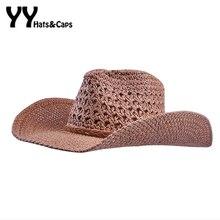 882b2966df9e6 Paja hecho a mano sombreros para hombres verano Sol sombreros de alta  calidad casquillo del vaquero mujeres playa Sol UV gorras .