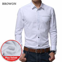2016 New Winter High Quality Dress Shirts Thick Velvet Long Sleeve Casual Warm Solid Shirt Men