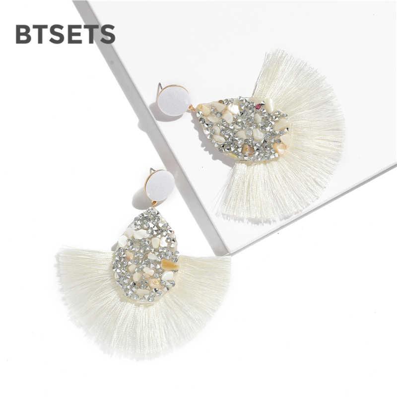 BTSETS Красочные Кристалл кисточкой серьги для женщин Шарм серьги, ювелирные изделия Свадебные заявление бахрома серьги