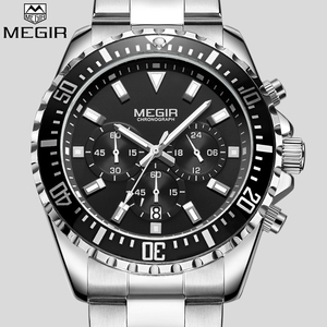 Image 2 - MEGIR Top Luxury Brand Watch Men Analog Chronograph Quartz Wrist Watch Full Stainless Steel Band Wristwatch Auto Date