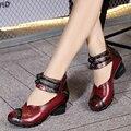 Этнический Стиль Натуральная Кожа женская Обувь С толстыми каблуками мать обувь кожаная обувь мягкая подошва сандалии