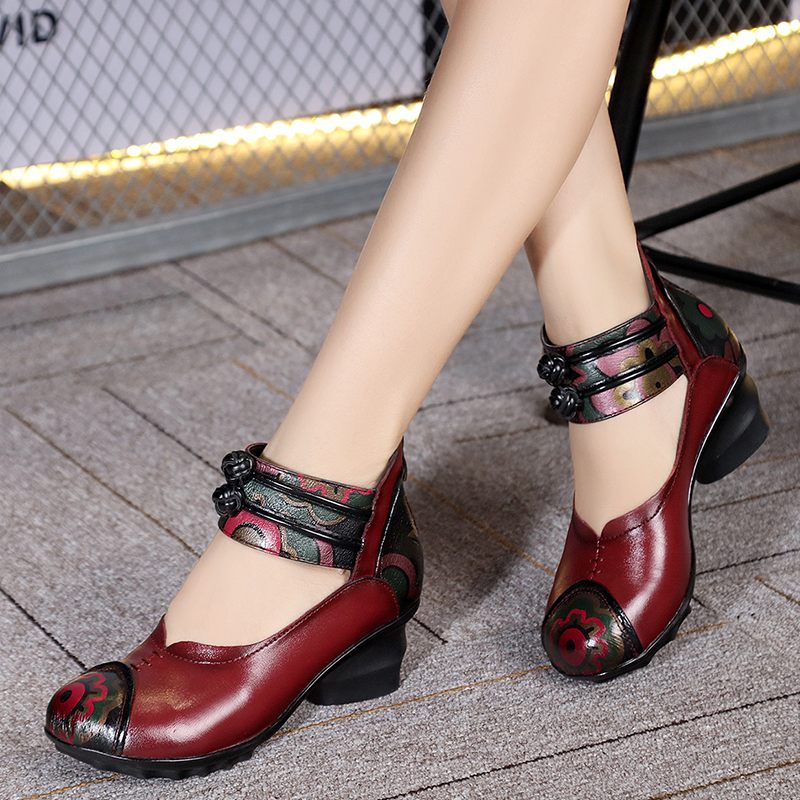 Ethnic Style Genuine Leather Women s Shoes With thick heels mother shoes leather shoes soft outsole