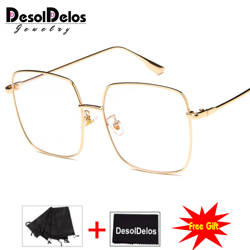 Luxury Women Square Eyeglasses Vintage Glasses Optical Frame Gold Metal Unisex Spectacles Clear Lens Glasses Blue Light Glasses