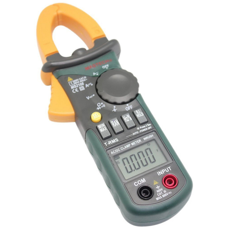 2017 New Mastech MS2108 Digital Clamp Meter True RMS LCD Multimeter AC DC Voltmeter Ammeter Ohm Herz. Duty Cycle Multi Tester