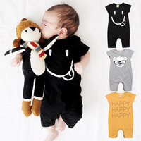 Summer newborn   baby     rompers   One piece jumpsuits clothes Cotton boys soft cartoon print   romper   3-24Months infant short sleeve