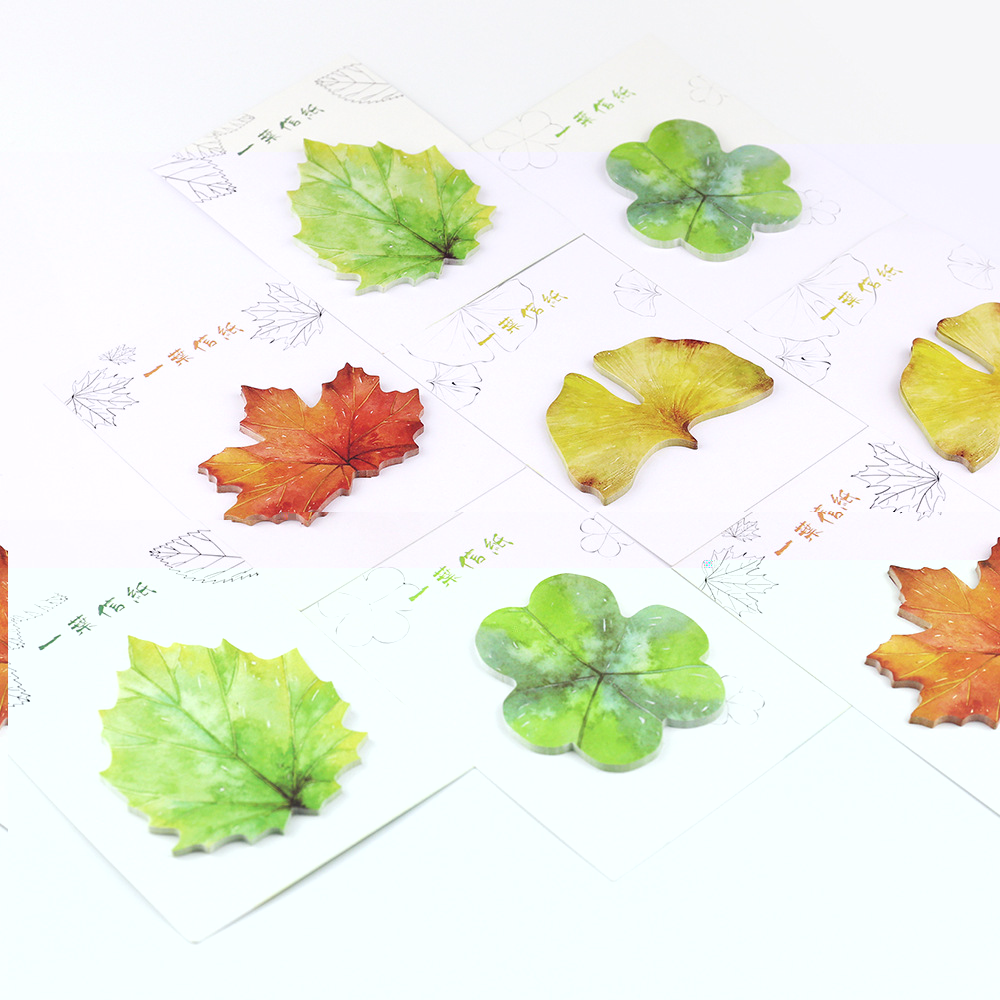 4packs/lot Korean Cute Nature Colorful Leaves Stickers Post it Leave Shape Memo Pad Sticky Notes Bookmarks DIY Message Stickers