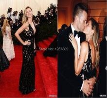 Sexy Zwarte Kleur Diepe V-hals Celebrity Jurken Met Gala Gisele Bundchen Red Carpet Dress Custom Made