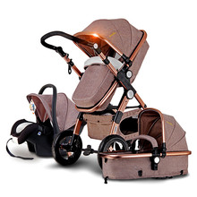 Super Luxury Baby Stroller 3 In 1 High Landscape Seat Stroller (Sleeping Basket ) Car Seat High Quality Inflatable Rubber Wheels