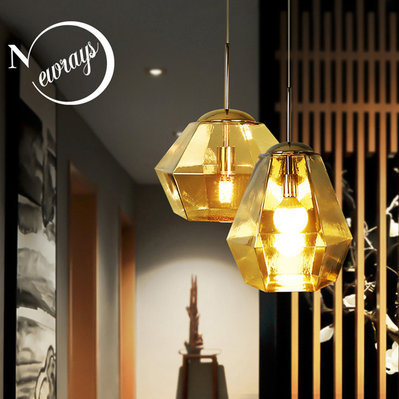 Modern Creative Diamond Shaped Glass Pendant Lamp E27 Led Single Hanging Light For Kitchen Living Room Dining Room Bedroom Study