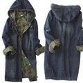 2016 de alta calidad de las mujeres chaqueta de mezclilla color del encanto Mujeres de Un Solo pecho de largo camuflaje con capucha de la chaqueta de mezclilla