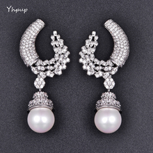 Yhpup Exquisite Full Tiny Cubic Zirconia U Shape Leaf Dangle Shell Pearl Luxury Earrings 2017 Wedding Party Earring gift Brincos