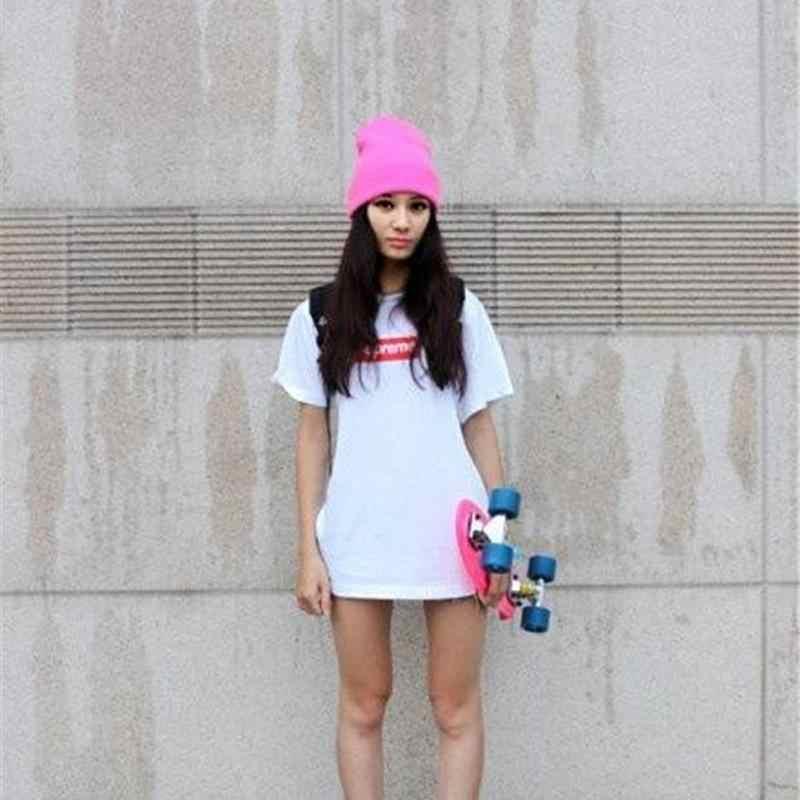 CWLSP Sonbahar ve Kış Yeni Kadın Örme Kasketleri 15 Renkler Mevcut 2018 Sıcak Satış Moda Sokak Rüzgar Rahat Esneklik Kapaklar şapka ve şapkalar