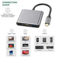 Type C USB 3.1 à USB-C 4K HDMI USB 3.0 adaptateur câble 3 en 1 Hub pour IPhone X IPhone 8 7 7 Plus 6S pour IPad série Macbook Pro