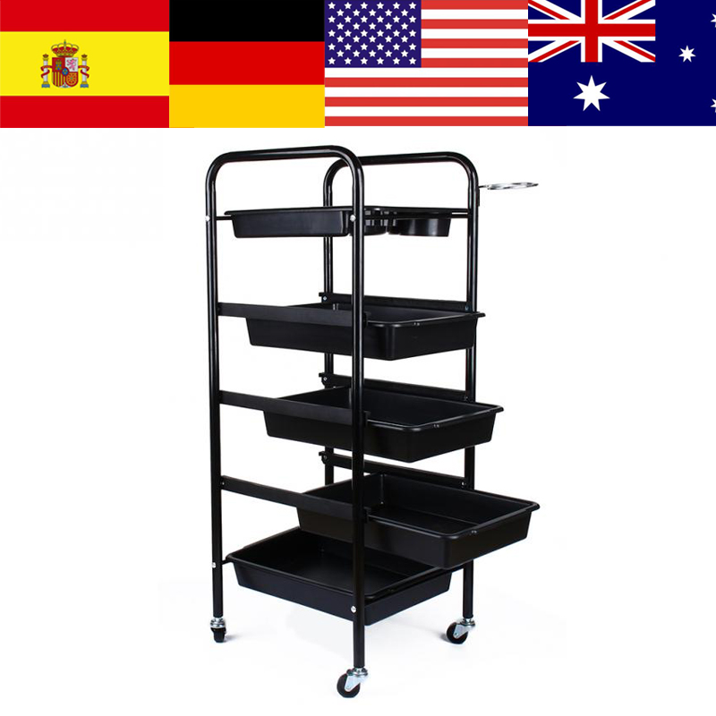 Professional 5 Drawers Salon Hairdresser Trolley Barber Hairdressing Trolley Hair Rolling Storage Cart Hairdresser Styling Tools
