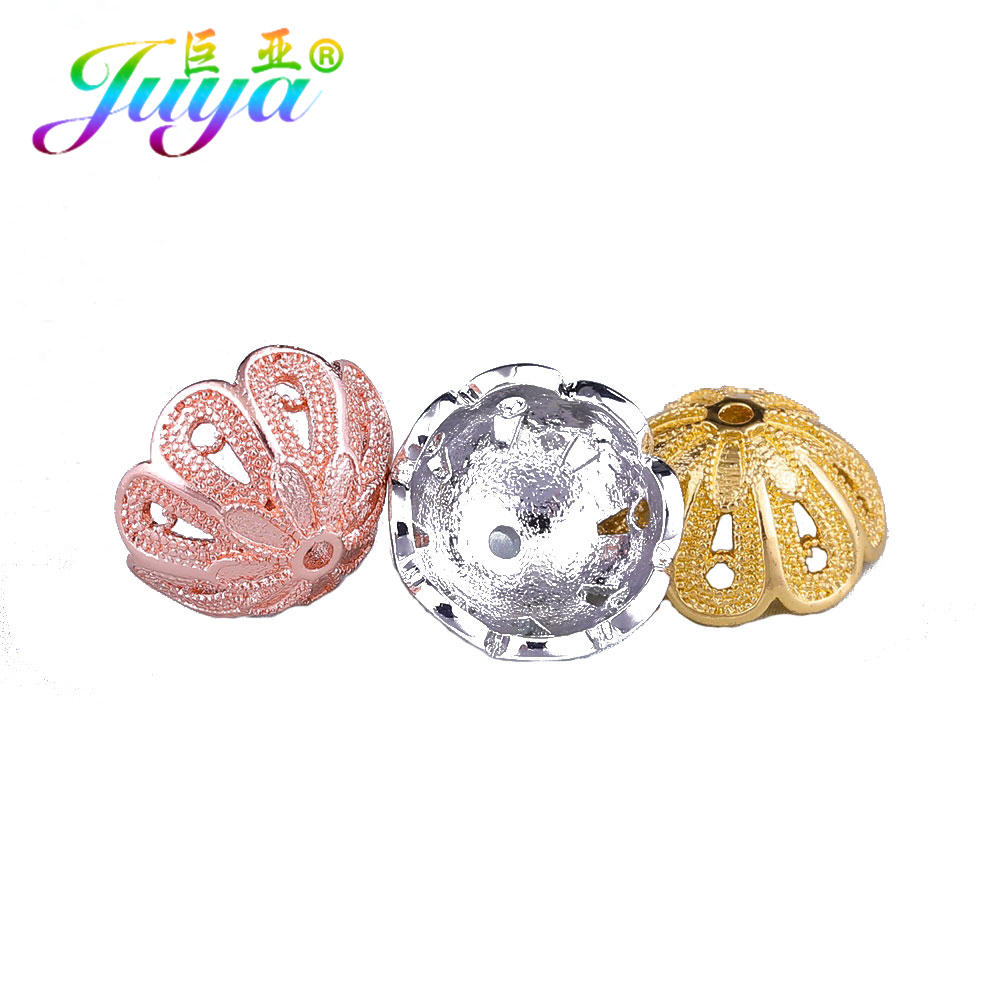 Juya DIY Tassels Earrings Components GoldSilverRose Gold Decoration Crown Bead Caps For Women Handmade Tassels Jewelry Making
