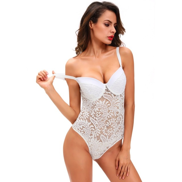 2b809c0377 Sexy Plunge Lace Cami Bodysuit Women Body Hot Lingerie Teddy Thong Bodysuit  One-piece Underwear