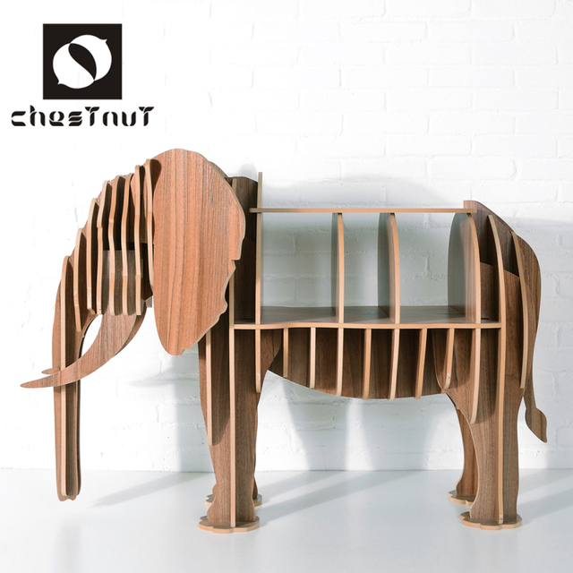 Modern carving wood animal elephant coffee table home living room ...