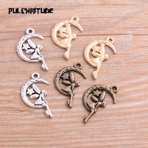 PULCHRITUDE 20PCS 16*26mm New Product Three Color Moon Angel Girl Charms Pendant Jewelry Metal Alloy Jewelry Marking