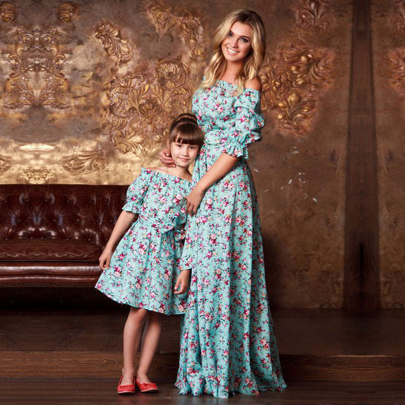 Mother Daughter Dresses Vintage Floral Dress Print Half Sleeve Family Matching Outfits Mommy And ...