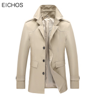 EICHOS Spring Autumn Mens Trench Coat Stand Collar Classic Windbreaker Slim Fit Long Coats Men British Style Business Outwear