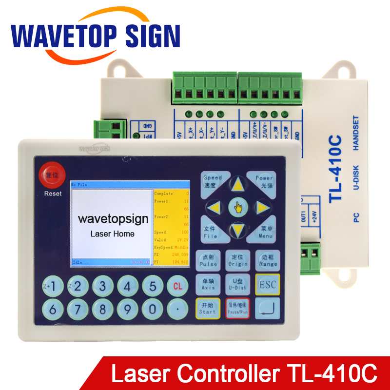3 axis laser control card TL-410C power dc 24v knife can rotary Co2 Laser Controller laser cutter & laser engraving machine laser controller tl 403cb laser machine control system instead tl403cia co2 laser mainboard use coreldraw software